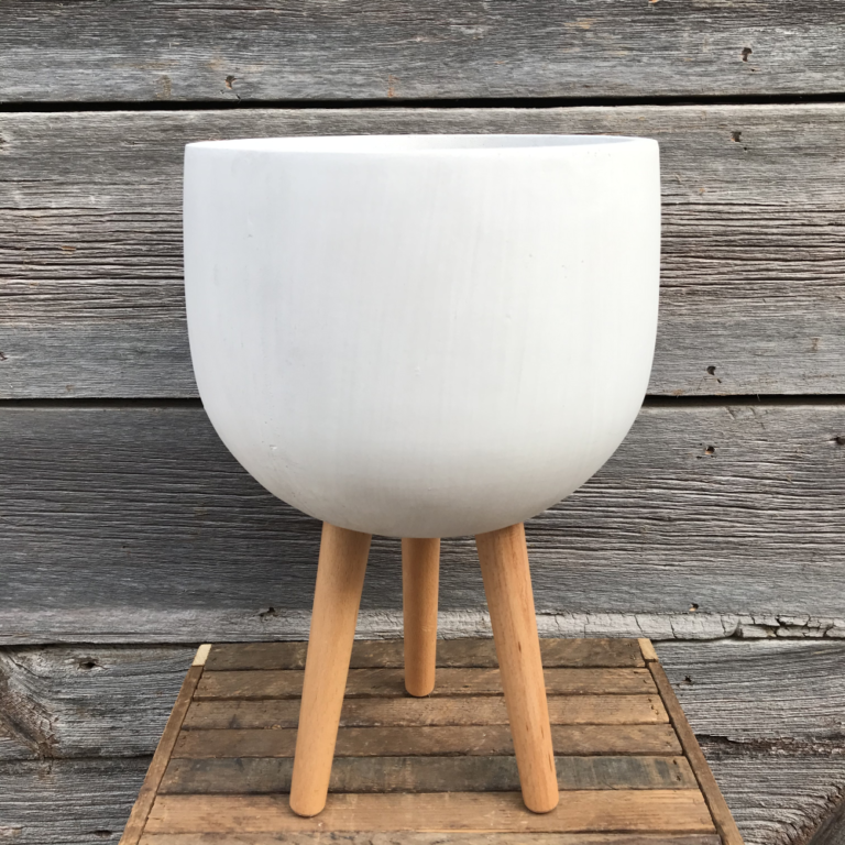 Tolleson Egg Matte White Rounded Pot with Wooden Legs