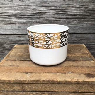 White with Gold Plated Dolomite Pot 6″